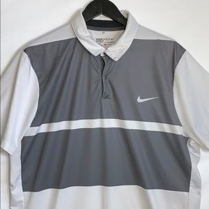 Nike Golf Men's Modern Fit White And Gray Shirt